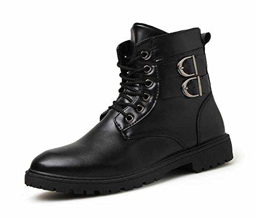 Männer Schnalle Martin Stiefel 2017 Herbst Winter Neue Punk High Top Runde Kopf Anti-Rutsch Casual Boots ( Color : Black , Size : 43 (Stiefel Punk Schwarze)