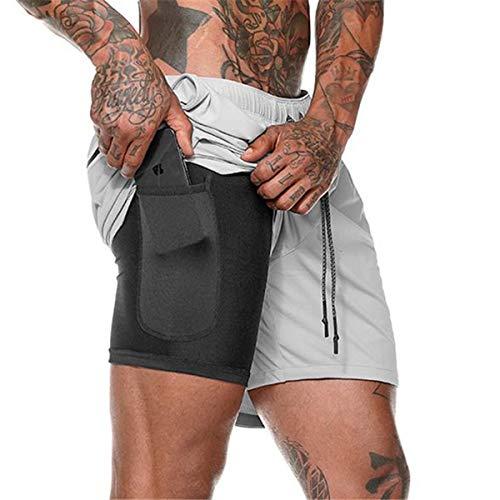 Yidarton Shorts Herren Sport Sommer Kurze Hosen Schnelltrocknende Laufshorts Fitness Joggen und Training Shorts mit Taschen (Silber-Grau, XL) -