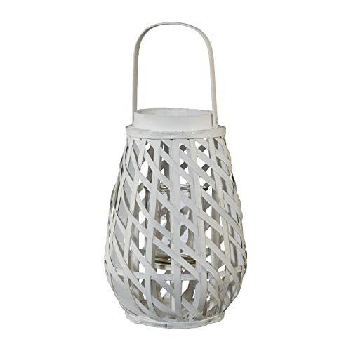 Laterne Windlicht Gartenlaterne | Weiß | Holz | Glas | mit Henkel