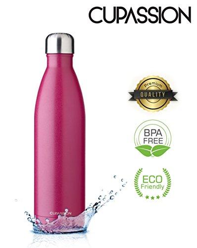 CUPASSION Evi Berry Pink - Edelstahl Vakuum Isolierflasche 500ml | Trinkflasche Wasserflasche | hält Getränke 18h heiß & 24h kalt | Thermosflasche & Thermoskanne | - Glas Isolierflasche