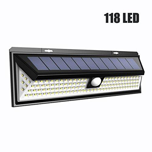 LTPAG Luces Solares LED Exterior, 118 LED Foco LED Solar con Sensor de Movimiento, 3 Modos Lamparas Solares Jardin Exterior IP65 Impermeable Farolas Luz de Caminos Iluminación de Patio y Terraza