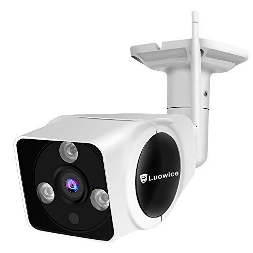 Luowice WLAN IP Überwachungskamera Aussen 720P WiFi Sicherheitskamera mit Bewegungserkennung 15m Nachtsichtfunktion Slot für TF Karten mit max. 64GB und kompatibel mit Smartphones Tablets und PC