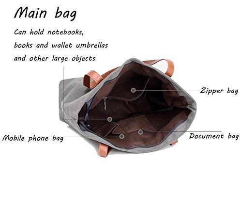 Frauen-Handtasche Retro-Stil Große Kapazitäts-Segeltuch-Schulter-Tasche Black