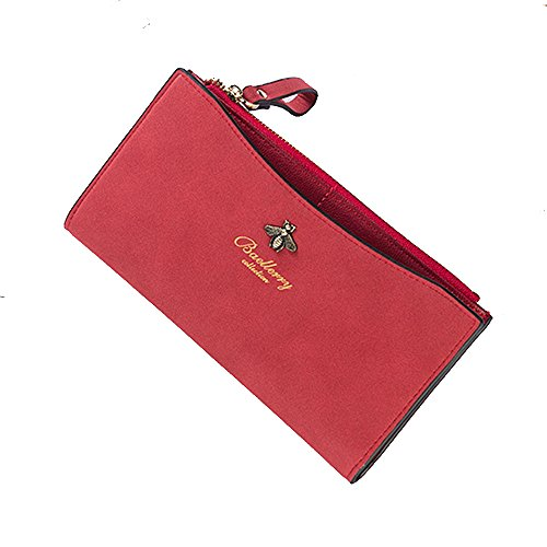 Sexy Women Girl Lady Long Slim Frosted Wallet Card Holder Money Bag Red (Double Fold Wallet)