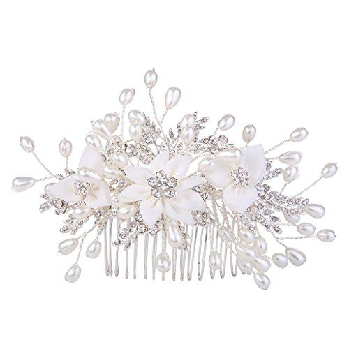 EVER FAITH Women's Crystal Cream Simulated Pearl Graceful Lace Flower Vine Hair Side Comb Clear