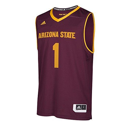 State Sun Devils Herren Basketball-Trikot, Nachbildung der Basketball-Trikot, Kastanienbraun, Größe M ()