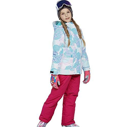Peanutaod Schöne Jungen mädchen Winter Snowboard Parka Jacke Schnee lätzchen Schneeanzug Set warme Schneeanzug mit Kapuze ski Jacke + Hose 2 stück Set (Bild-snowboard-jacke)