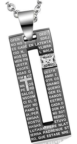Acier Inoxydable Colliers, Femmes Pendentif Chaîne Cz Clouté Creux Rectangulaire Croix Epinki Noir(couple)