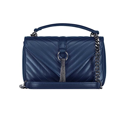 EVA MEDIUM Chevron Monogramm Matelasse Handtasche, Schultertasche mit Kette, Handtasche, Schultertasche, elegante Einkaufstasche, echtes italienisches gestepptes Leder Blau Medium size