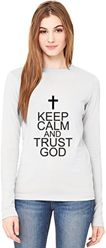 Keep Calm And Trust God Slogan Long-Sleeve T-shirt For Women| 100% Premium Cotton| DTG Printing| Unique & Custom Robes, Skirts, Vests & Women's Fashion Clothing by Wicked Wicked
