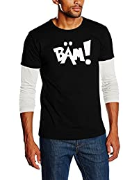Touchlines Unisex/Herren Layered Langarm T-Shirt Bruce Lee BÄM - Comic Style, SB103