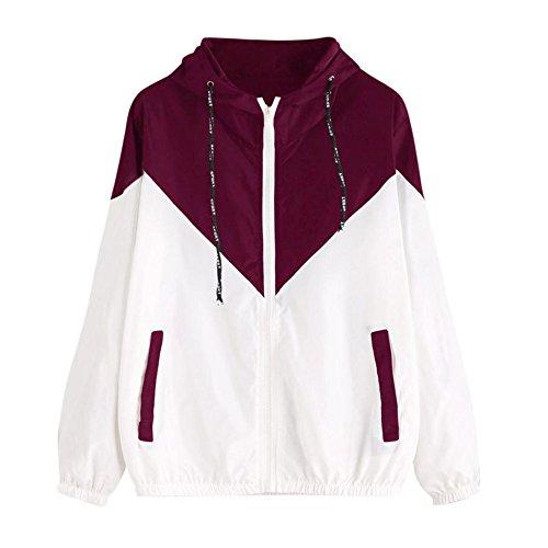 Damen Hoodies,KIMODO 2018 Neu Mode Frauen Langarm Patchwork Dünne Skin Suits Mit Kapuze Reißverschluss Taschen Sport Mantel (Rot, S)