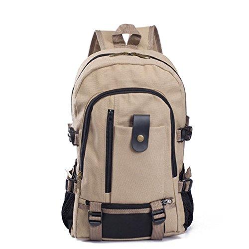 LIUYUNE,Segeltuch-Rucksack des Paar-Seitentasche(Color:BRAUNER Zucker,Size:VERTIKALE)