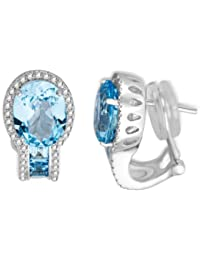 Miore Ladies 14ct Blue Topaz Diamond Earring