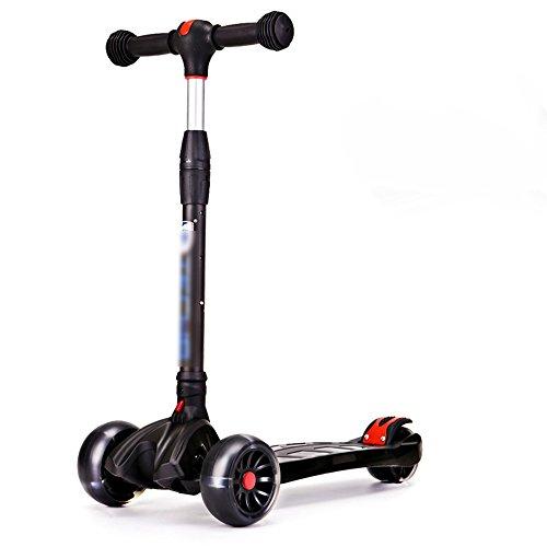 QFFL huabanche Scooter Doblador Scooter para Principiantes de Tres o Cuatro Ruedas Scooter desviador para niños de 3-12 años Bloque Deslizante Negro