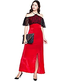 Red strappy cold shoulder velvet dress with lace