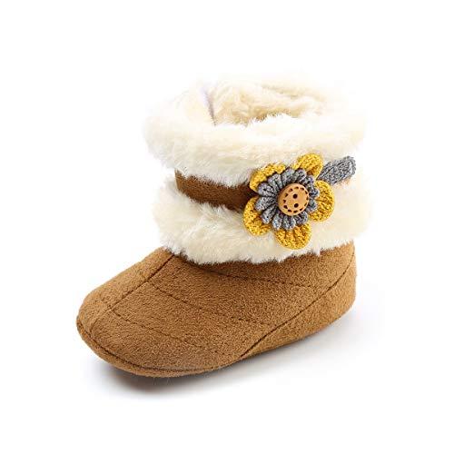Hemotrade Blumen Winter Dicke Baby Baumwollstiefel Schneeschuhe Babyschuhe weichen Boden 0-1 Jahre altes Baby Kleinkind Schuhe bequem warm (Color : Brown, Size : 3) - Brown-blumen-mädchen-schuhe