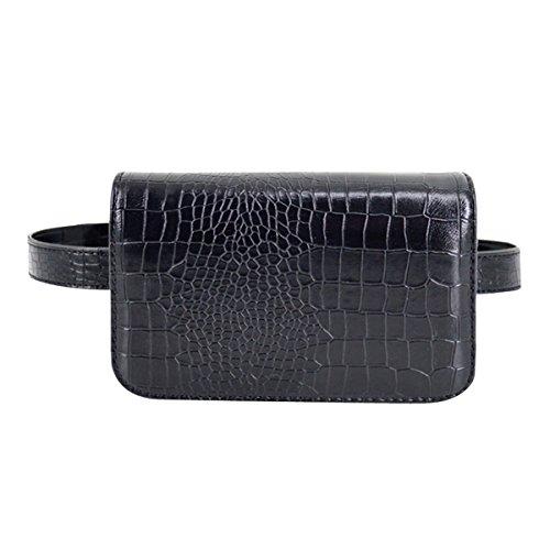 AiSi Damen Mode Hüfttasche, Kleine Modern Taillenbeutel Gürteltasche Bauchtasche, Mini Handytasche mit Verstellbaren Riemen aus Leder (Schwarz Groß)