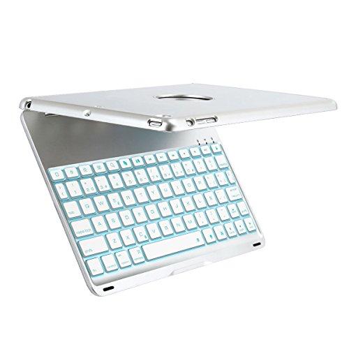Funda con Teclado para iPad Air, iEGrow F8S 7 colores retroiluminados delgado teclado de aluminio Bluetooth Español QWERTY (con Ñ letra) con la cubierta protectora de la carcasa para iPad Air