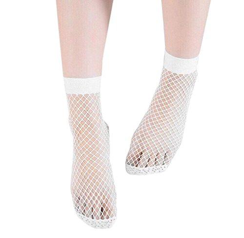 Damen Netzsocken, SHOBDW Frauen Ruffle Netzsknöchelstrümpfe Mesh-Spitze Fisch-Netz kurze Socken (Weiß) (Socke Sportliche Cotton Quarter Herren)