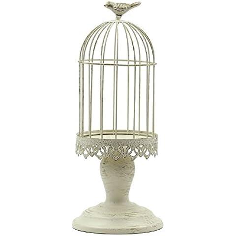 Titolare gabbia/Paese spazzolato oro bianco candela/Supporto di candela di nozze/Supporto di candela decorazione decorazione casa-B
