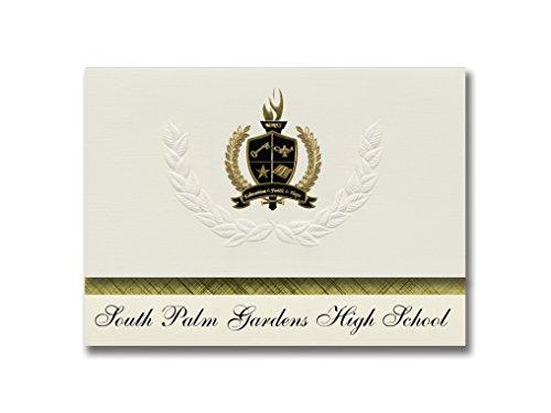 Signature Ankündigungen South Palm Gärten High School (Mercedes, TX) Graduation Ankündigungen, Presidential Stil, Elite Paket 25Stück mit Gold & Schwarz Metallic Folie Dichtung