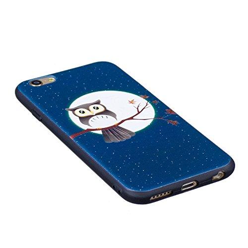 Coque iPhone 6, Étui iPhone 6S, iPhone 6/iPhone 6S Case, ikasus® Coque iPhone 6/iPhone 6S Housse Papillon Panda Hibou Fleur Modèle Couleur peinte Doux TPU Silicone Étui Housse Téléphone Couverture TPU Hibou sur l'arbre