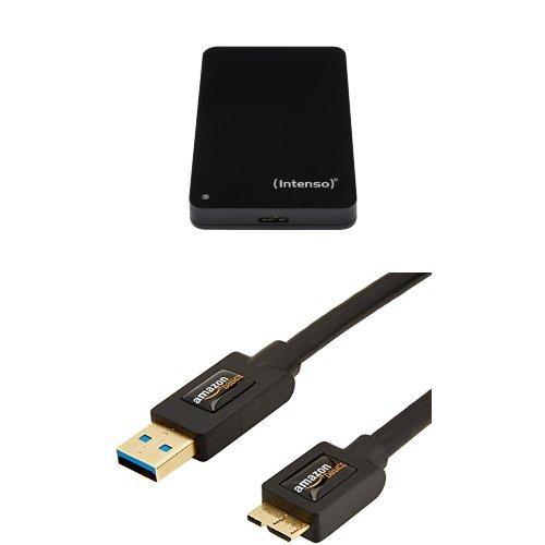 Intenso Memory Case 500 GB Externe Festplatte (6,35 cm (2,5 Zoll) 5400 U/min, 8 MB Cache, USB 3.0) schwarz und AmazonBasics USB-3.0-Kabel A-Stecker auf Micro-B-Stecker (0,9 m)