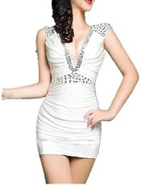 Bling Paillettes V profond de QIYUN.Z femmes cou sexy moulante stretch Prom Party Clubwear Robe de cocktail
