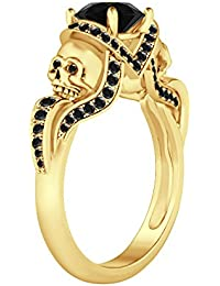 Silvernshine 1.52Ct Black CZ Diamond Engagement & Wedding Two Skull Design Ring 14K Yellow Gold PL