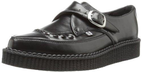 TUK Pointed Creeper - Zapatillas de Deporte de Cuero para Mujer Negro Noir (Black Leather with Monk Buckle) 36