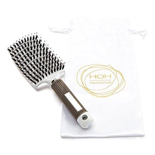 Brosse à cheveux démêlant les poils de sanglier - incurvée et aérée - pour femme Brosse à cheveux longue, épaisse, fine et frisée