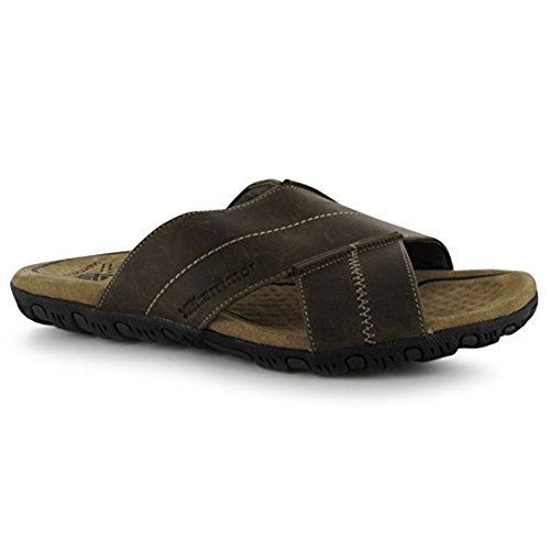 Karrimor Mens Lounge Slide Leather Sandals Summer Shoes Cross Over Strap Brown...