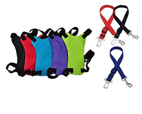 Fuly Set Autogurt Sicherheitsgurt mit Sicherheitsgeschirr Brustgeschirr Hundegeschirr Westengeschirr (Farbe zufällig) (Größe S, zufällig)