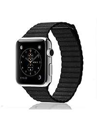 AWStech Strap 42mm für Apple Watch, 42mm Armband für Apple Watch 2, Leder Magnet Lock Loop Ersatzband Uhrenarmband Sportuhr Wrist Band Replacement, Schwarz