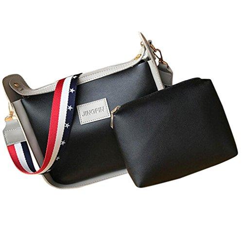 TPulling Mode Leder Patchwork Beiläufiger Gurt Schlagfarbe Kurierbeutel + Handbeutelpaketbeutel Schwarz