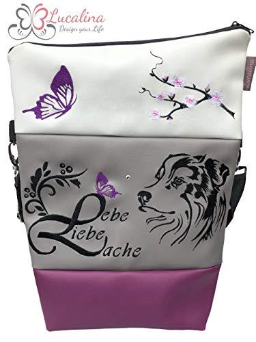 Handtasche Lebe Liebe Lache Australian Shepherd Tasche Foldover Schultertasche