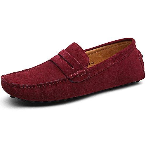 Jamron Herren Klassisch Ursprüngliches Wildleder Penny Halbschuhe Komfort Fahrende Schuhe Schlüpfen Niederung Mokassin Slippers Hausschuhe Rotwein 2088 EU44