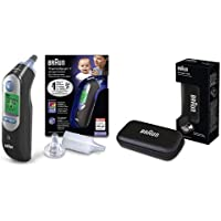 Braun ThermoScan 7 Black Edition - Termómetro de oído con Age Precision, color negro + Funda de protección para termómetro