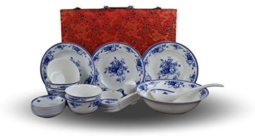 28Bone China blau und weiß Essgeschirr Set, Service für 6, Reis Schüssel-Set, Jingdezhen, fein weiß (Schüssel Bone Reis China)