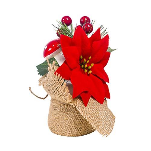 happyyami natale pianta in vaso stella di natale fiori con agrifoglio bacche fungo natale da tavolo ornamento