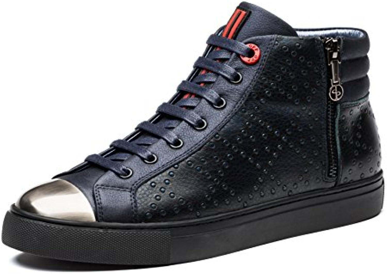 OPP Herren Retro Leder Stiefeletten Boots Schnürsenkel Schuhe Schnürstiefeletten
