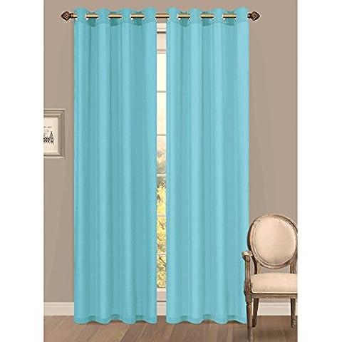 Window Elements Primavera Semi-Sheer Crushed Microfiber 55 x 84 in. Grommet Curtain Panel, Light Blue