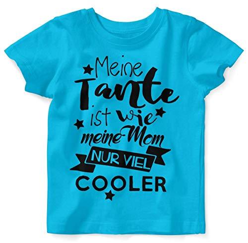 Mikalino Baby/Kinder T-Shirt mit Spruch für Jungen Mädchen Unisex Kurzarm Meine Tante ist wie Meine Mom. | handbedruckt in Deutschland |, Farbe:Atoll, Grösse:92/98