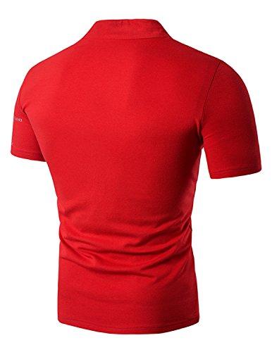 YCHENG Herren Mode Poloshirt Slim Fit V-Ausschnitt Kurzarm T-Shirt Tops Rot