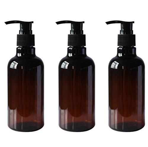 Upstore 3 x 250 ml braune, nachfüllbare Leere PET-Pump-Flaschen mit schwarzem Pumpverschluss für Shampoo, Duschgel, Vorratsdosen für Make-up, Kosmetik, Toilette, Flüssigkeiten
