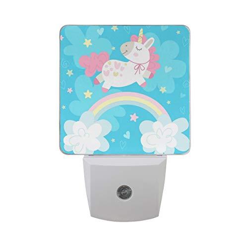Bonita luz nocturna LED automática de unicornio y arcoíris para el amanecer, luz LED para el senor, luz nocturna, para dormitorio, bebé, niños, habitación de los niños, guarderías, escaleras, etc.