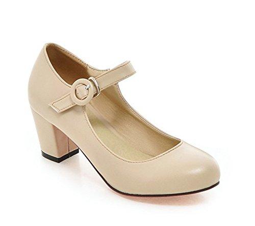 Aisun Senhoras Fivela Sapatos Bombas Bege Um Calcanhar Bloco De Cor