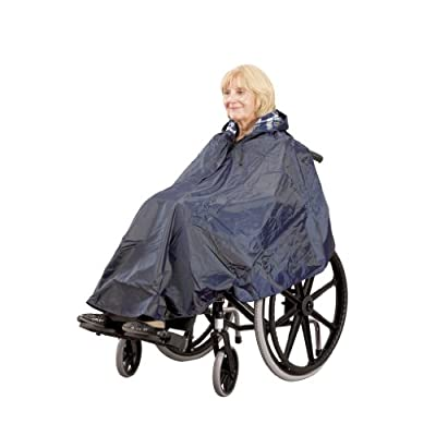 Homecraft Wheelchair Lined Poncho, Waterproof Poncho with Hood, Protection Against Rain, Reusable, Windproof, Covers Arms, Hands, and Knees, (Eligible for VAT relief in the UK)