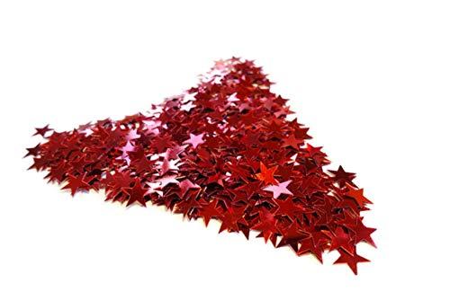 versandhop Konfetti Sterne Einhorn Herz Gold Silber Rot Blau Orange Schwarz Lila Pink Hell-Blau Grün Braun Türkis Violett 15g 45g 100g 450g 1000g (100g, Rot)